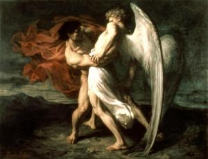 . Jacob Wrestling with the Angel . 1865. Alexander Louis Leloir 319 Leloir - Jacob Wrestling with the Angel